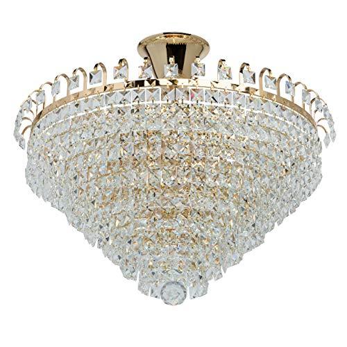 MW-Light 642011005 Deckenleuchte Jugendstil Modern Metall Gold Kristall Dekor 5 Flammig x 60 W