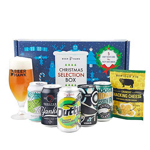 Beer Hawk Craft Beer Christmas Selection Box – Christmas Gift Set Beer Hamper with Glass and Snacks