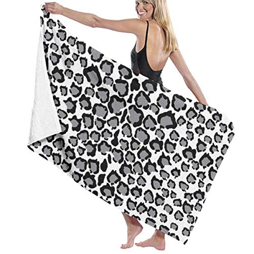 MJDIY Katten Hoofd Sneeuw Luipaard Print Strand, Spa Yoga Badpak Super Absorbens Wraps Zachte Oversized Grootte Badhanddoek 31.5x51.2 Inches/80x130cm