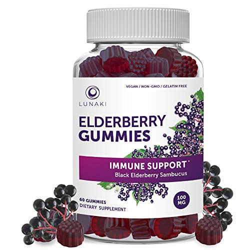 Lunaki Elderberry Gummies Immune Support with Zinc and Vitamin C for Adults and Kids - Vegan, Non-GMO, No Corn Syrup, Gelatin Free, All Natural Black Sambucus - 30 Day Supply