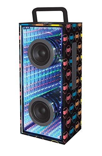iParty BTL600 Bluetooth Lautsprecher mit Beleuchtung, Schwarz Mit Bunde I-Party Logos, 12.7 x 15.5 x 40 cm