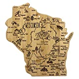 Celebrate life in America's Dairyland with this beautiful bamboo cutting board in the shape of Wisconsin with permanent, laser-engraved artwork Fun, whimsical laser-engraved artwork calls out all the wonderful sights and places in the state from Eau ...