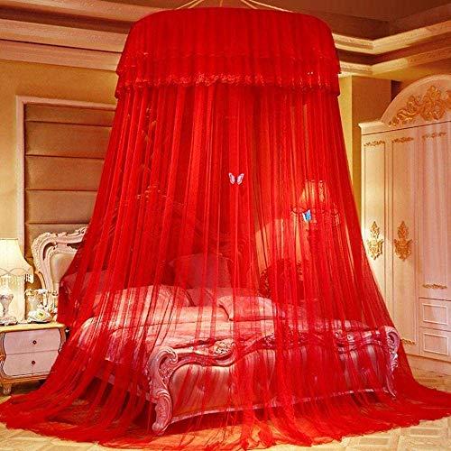Zhihao Princesse moustiquaire Ronde Dôme Insectes Net Protection moustiquaire à Poser au Sol Installation Non Simple Double Marry bébé Hauteur Rouge (Color : Red)