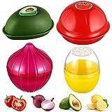 4 Pcs Onion Tomato Storage Food Savers Fruit Vegetable Savers Storage Box Onion Tomato Lemon Avocado Keeper/Saver/Holder Reusable Plastic Avocado Saver Storage Box Fresh Storage Bowls