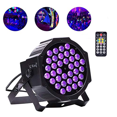 U`King UV Party Lights, 36 LEDs Stage Lights with DMX Controller and 2 IR Remote Par can for DJ Club Party Bar Disco Neon Party Stage Lighting