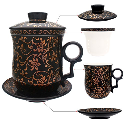 HOLLIHI Tasse à thé avec couvercle / soucoupe / infuseur Porcelaine chinoise