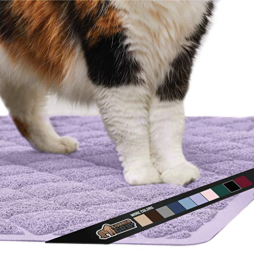 Gorilla Grip Original Premium Durable Cat Litter Mat Water Resistant Traps Litter from Box and Cats Scatter Control Soft on Kitty Paws Easy Clean Mat Corner Light Purple