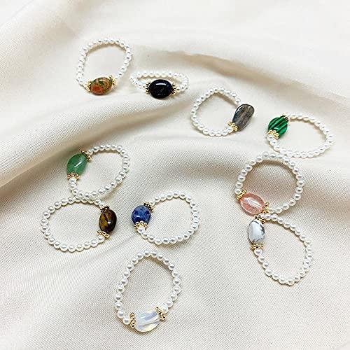 KEJI Anillos de perlas de agua dulce para mujer piedra natural Boho joyería elástico ajustable anillo de boda regalo