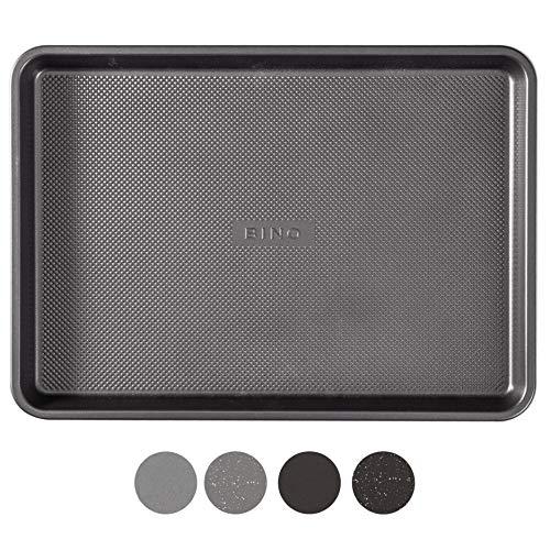 BINO Bakeware Nonstick Cookie Sheet Baking Tray, 13 x 18 Inch - Gunmetal | Premium Quality Textured Baking Sheet with Even-Flow Technology | Dishwasher Safe | Non-Toxic