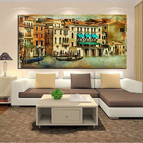 Imprima la imagen de arte de la pared de la ciudad romántica en lienzo de la pintura al óleo del paisaje de Venecia de la ciudad de agua de la vendimia para la decoración de la sala de estar 50x100cm