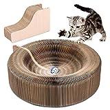 YOUTHINK Rascador de CartóN para Gatos, Cama Plegable Redonda Scratcher Lounge Cat con Bola de Campana de Juguete y Catnip, CartóN Corrugado Funcional Rascador 3 en 1 para Gatos