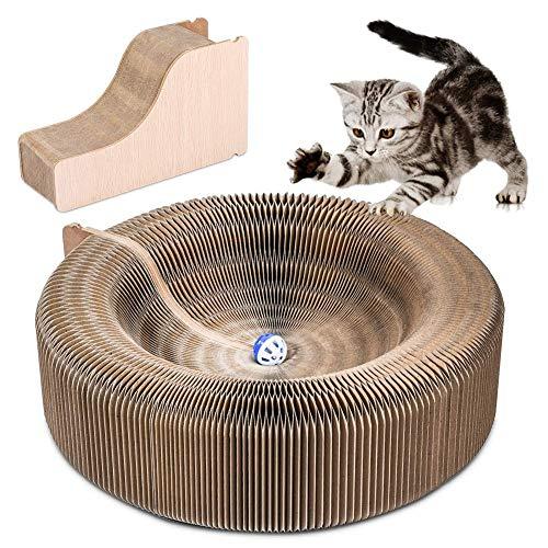 YOUTHINK Kratzbrett Katzen, Kratzmöbel Katzen Faltbares Wellpappe Kratzbrett für Katzen Katzenspielzeug Kitty Scratcher Lounge Hochwertigem Kratzbrett mit Katzenminze und Spielzeugglocke
