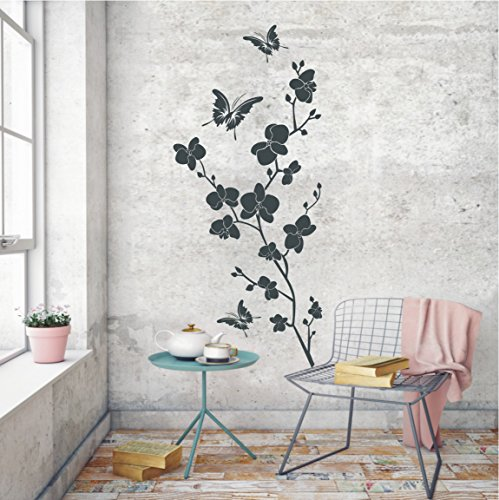 HomeTattoo ® WANDTATTOO Wandaufkleber Orchidee Orchideen Rispe Pflanze Blume 776 XL ( L x B ) ca. 130 x 58 cm (lavendel 043)