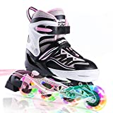 2PM SPORTS Cytia Pink Girls Adjustable Illuminating Inline Skates with Light up Wheels, Fun Flashing Beginner Roller Skates for Kids - Medium(13C-3Y US)