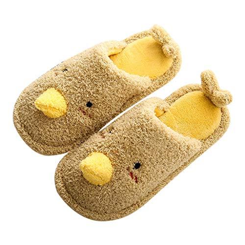 UXZDX Zapatillas De Piel De Casa De Invierno, Zapatos De Algodón Cálidos, Dibujos Animados Bonitos Y Bonitos para El Interior del Dormitorio, Diapositivas para Mujer (Color : Yellow, Size : 38-39)
