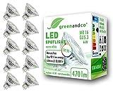 10x Spot a LED greenandco IRC 90+ 3000K 36° GU5.3 MR16 6W (equivalente spot alogeni 45W) 470lm (bianco caldo) SMD LED 12V AC/DC vetro, non dimmerabile