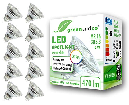 10x greenandco® CRI90+ 3000K 36° LED Spot ersetzt 45 Watt GU5.3 MR16 Halogenstrahler, 6W 470 Lumen warmweiß SMD LED Strahler 12V AC/DC Glas mit Schutzglas, nicht dimmbar, 2 Jahre Garantie