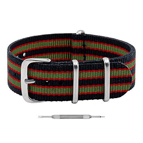 Benchmark Basics - Correa de reloj de nailon balístico impermeable para hombres y mujeres, color y ancho, 18 mm, 20 mm, 22 mm o 24 mm, Rayas negras, rojas y verdes., 20mm