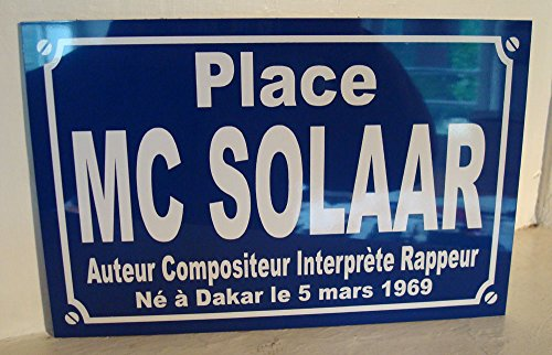 Noir & Mat Sérigraphie MC SOLAAR Plaque de Rue Objet Collection Cadeau pour Fan déco Originale