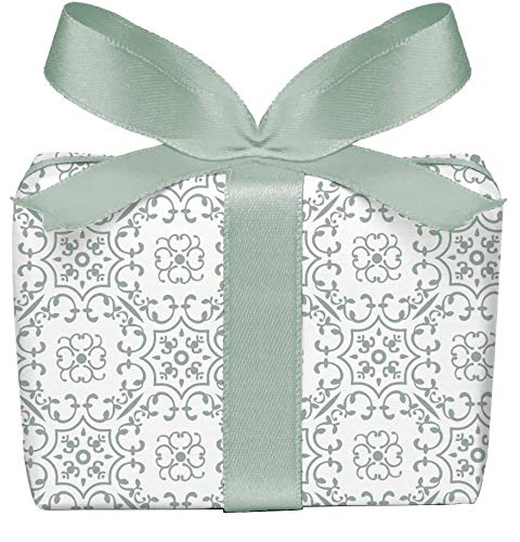 5er-Set Geschenkpapier Bögen UNIVERSAL in Olive GRÜN WEIß mit Ornamente zu jedem Anlass • Für Geburtstage, Hochzeit, Weihnachtsgeschenke, Adventskalender • Format : 50 x 70 cm