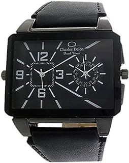 Charles Delon Mens Quartz Watch, Analog Display and Leather Strap 5263 GBBB