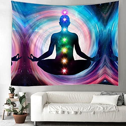 Yoga Meditación Chakra Tapiz Mandala Hippie Tapiz de encaje Montaje en pared Decoración bohemia Psicodélico Brujería Tapiz A4 100x150cm