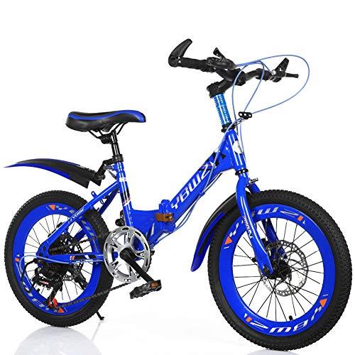 MYRCLMY Variable Speed Folding Fahrrad BMX Fahrrad-for-Kids, Kinder Und Anfänger-Ebene Bis Hin Zu Fortgeschrittenen 16-20-Zoll-Rädern, Kinder Single Speed Folding Fahrrad Mountainbike,Blau,22inch
