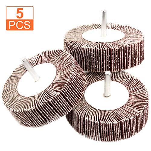 5 Pack Sanding Flap Wheel 3.15x1x 1/4 inch Shank Mounted Flap Wheels 80 Grit Aluminum Oxide Abrasive Flap Grinding Wheels for Remove Rust, Weld Burr Polishing Flat - Fit for Most of Drill