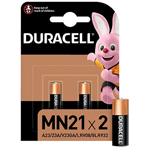 Duracell MN21 - Batteria Alcalina 12V, Specialistica Sicurezza, A23 / 23A / V23GA / LRV08 / 8LR932 Progettate per l'Uso in Telecomandi, Campanelli Wireless e Sistemi di Sicurezza, Confezione da 2