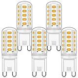 Bombilla G9 LED 4W, 3000K G9 Blanco Cálido, G9 4W Equivalente a 40W 33W Lampara Halógena, AC 220-240V, Sin Parpadeo, 360 Grados, 380LM, No Regulable, Pack de 5 Unidades