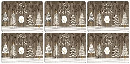 Pimpernel Wooden White Christmas Collection Placemats - Set of 4