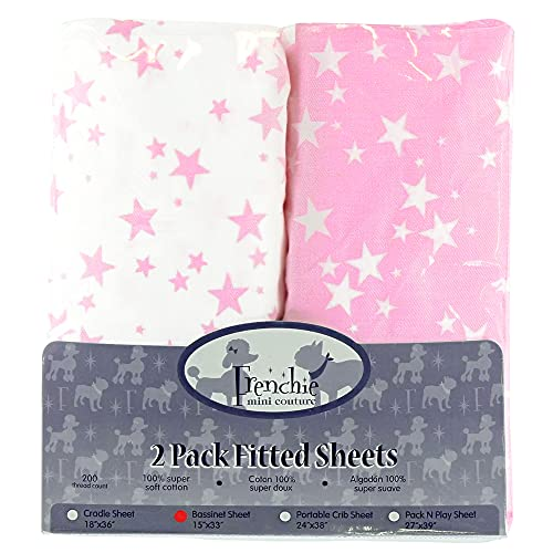 Frenchie Mini Couture Bassinet Sheets 100% Woven Cotton Pink Stars, 15 x 33in, 2-Pack