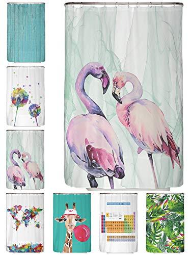 arteneur® - Loving Flamingos - Anti-Schimmel Duschvorhang 120x200 - Beschwerter Saum, Blickdicht, Wasserdicht, Waschbar, 12 Ringe und E-Book mit Reinigungs-Tipps
