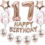 Kit de décoration d'anniversaire pour fille - Or rose - 17 ans - Décoration d'anniversaire - Guirlande de confettis - Ballons en forme de cœur et d'étoile