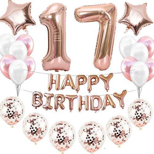 17.Geburtstagsdeko Rosegold set Mädchen, Geburtstagsdeko RoseGold Mädchen 17 jahre, 17.Geburtstag Dekoration Rosegold for Mädchen happy Birthday Girlande Konfetti Ballons Herz Stern Folienballon