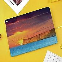iPad Pro 10.5 ケース/iPad Air 2019 ケース(Air3)高級ソフトPUレザー製 iPad 10.5 カバー オートスリープ&スタンド機能付き ひび割れ防止 防衝撃デザイン 手帳型10.5インチタブレットスマートケース カバー巨大な崖の活気に満ちた色曇り絵と劇的な海の風景夏の夕日