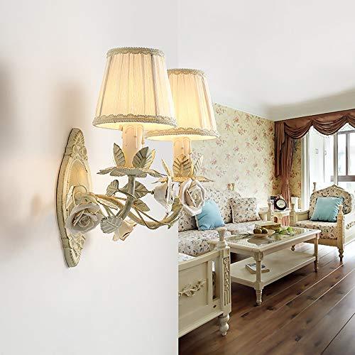MGWA Lámpara de pared de cerámica con diseño de flores, color blanco, estilo rústico, para sala de estar, fondo de televisión, lámpara de pared para d...
