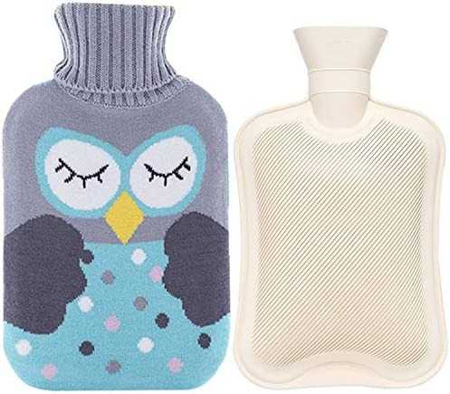 2 Liter Rubber Hot Water Bottle Warmer Set Heat Up and Refreezable Hot Cold Pack with Knit Cover product image