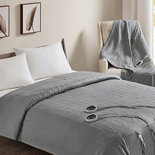 Beautyrest Fleece Combo Set-Grey-Queen Size Blanket 84' x 90' + Throw 50' x 60'-with 3 Heat-Regulating Controllers