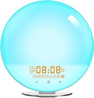 Vakna upp ljus, med FM -radio Snooze -funktion Solnedgångslampa Väckarklockor Simulering Nattljus och atmosfärslampa, Natu...