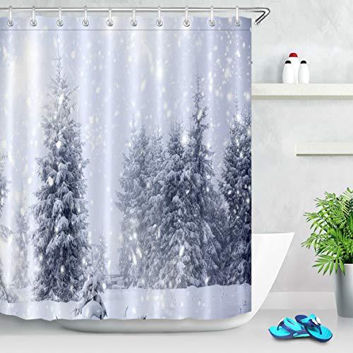 Stoff Duschvorhang Winter Wald Schneeflocken Landschaft Badezimmer