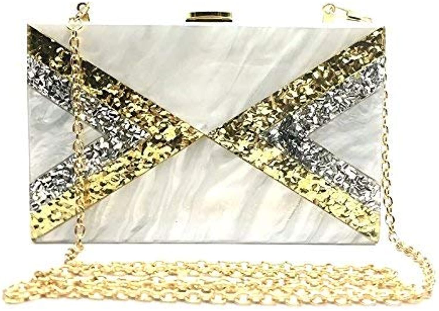 CoralTree Women's Stylish PU Acrylic White Intended V Pattern Shoulder Designer Hand Clutch Party Sling Bag for Girls