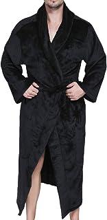 6cfde69715 EVEDESIGN Men s Long Flannel Fleece Hooded Robes Solid Plush Shawl Kimono  Spa Bathrobe