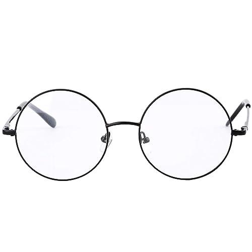 da58956f40c8 Agstum Vintage Round Prescription ready Metal Eyeglass Frame Clear Lens