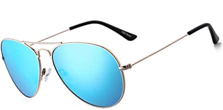 Mirrored Aviator Sunglasses for Women Polarized Vintage Mens Shades Classic Eyewear UV Protection with Case, 58MM