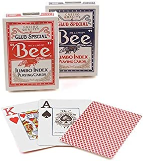 2 Decks Bee Jumbo Playing Cards Red & Blue Deck Casino Quality