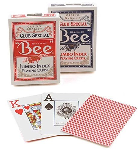 Bee 2 Decks Jumbo Playing Cards Red & Blue Deck Casino Quality