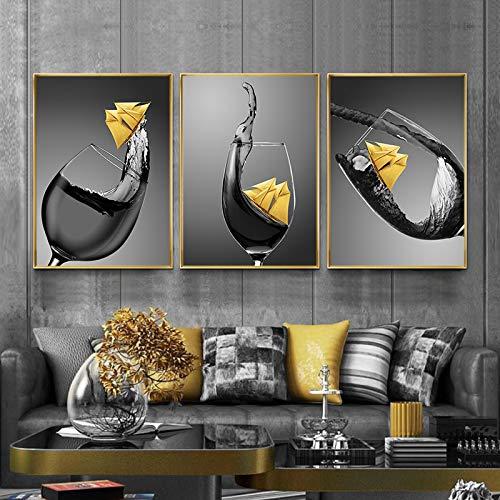 YRWL Impresión en Lienzo Copa de Vino con imágenes de Botes pequeños Comedor Cocina Decoración Moderna del hogar Arte de la Pared Imágenes de flores-40x60cmx3 Sin Marco