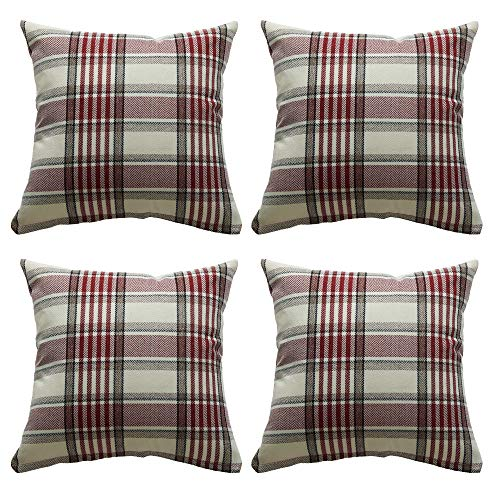 ZBW Impex - Pack of 4 - Tartan Check Plaid Cushion Covers Striped Decorative Pillowcase For Home Sofa Bedroom Living Room 18 x 18 inch (Red)