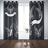 Musesh 52X63 Inch Window Blackout Curtains 2 Panels Bathroom Window Curtain Door Window Curtain American Eagles Set Traditional Tattoo Designs Cool Curtains for Windows for Bedroom Living Room Dorm